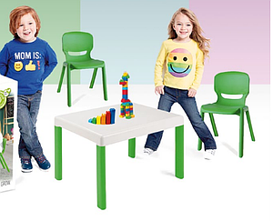 Table+chaises enfant 3-6 ANS : kit table et chaises ultra-résistantes indoor / outdoor  100% recyclable